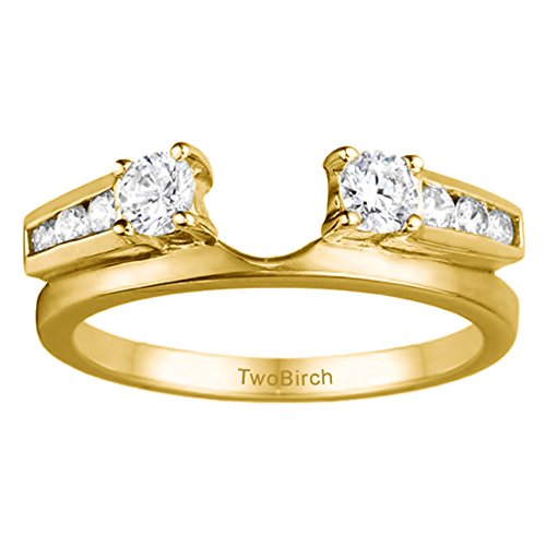 Diamond Classic Solitaire Ring Wrap in 10K Yellow Gold G-H I2-I3(0.31Ct) Size 3 To 15 in 1/4 Size Interval ()