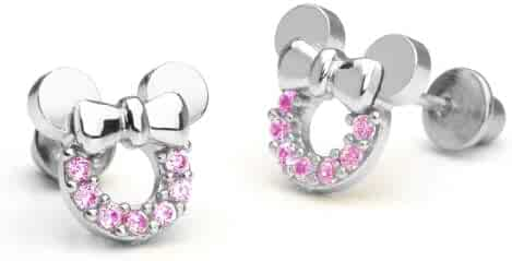 Sterling Silver Rhodium Plated Pink Mouse Cubic Zirconia Screwback Baby Girls Earrings