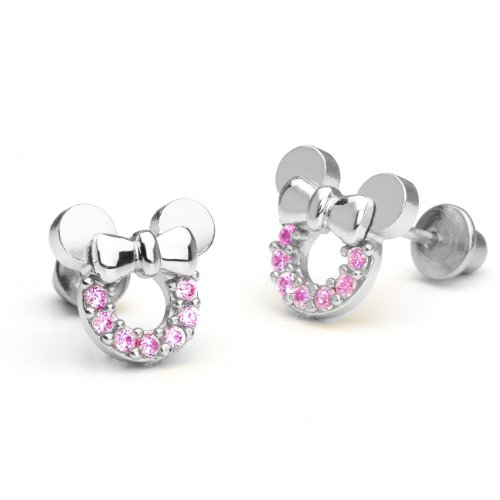 925 Sterling Silver Rhodium Plated Pink Mouse Cubic Zirconia Screwback Baby Girls (Baby Cubic Zirconia Earrings)