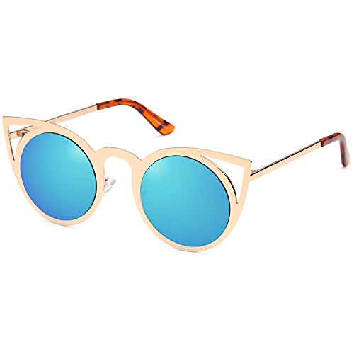 0892f4e149 CATWALK Womens Cateye Metal Fashion Round Sunglasses - Gold Frame - Mirror  Blue Lens