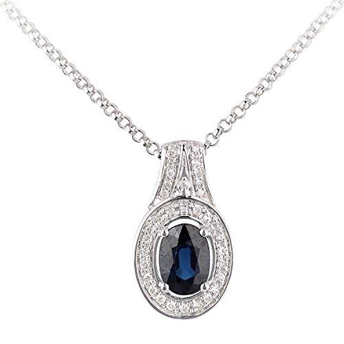 Revoni Bague en or blanc-18carats Saphir ovale et diamant collier pendentif