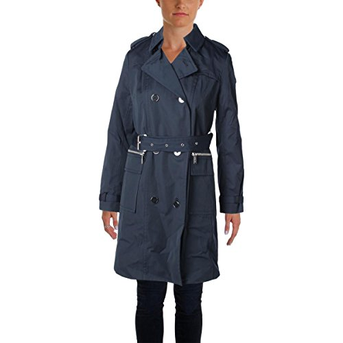 [Michael Kors Womens Button Front Outerwear Trench Coat Navy S] (Button Front Hooded Coat)
