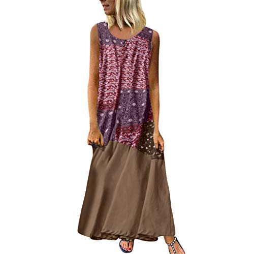 Dressin Women Floral Dress Bohe Long Dress Sleeveless V Neck Dresses Sundress with Pocket
