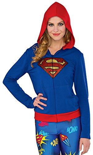 Rubie's Women's Dc Comics Supergirl Fitted Hoodie, Multi, Small/Medium (Comic Costume Dc Supergirl)