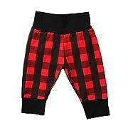 Treafor Newborn Baby Boys Girls Buffalo Plaid Harem Pants Unisex Kids Warm Long Pants (6-9m)