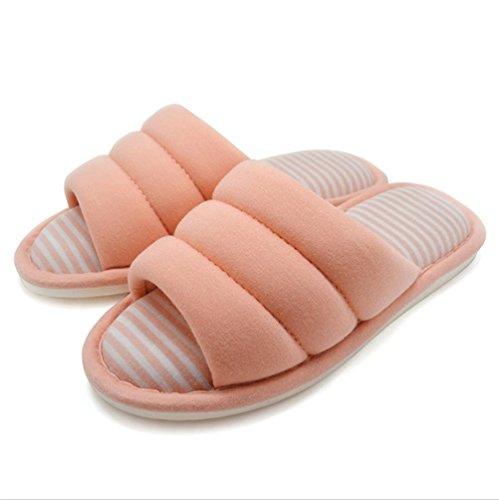 mhgao Ladies algodón simplicidad todas las estaciones Interior casa zapatillas de algodón suave Zapatillas 1