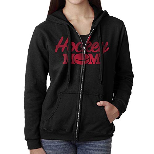 (WOM100EN Hockey Mom Womens Casual Long Sleeve Full-Zip Hoodie Sweatshirt Jacket with Pocket)
