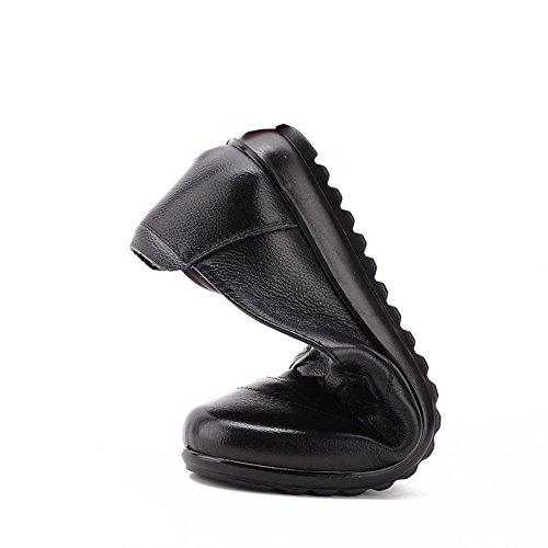 Madre con zapatos planos/Zapatos de boca baja para mujeres mayores/Anti-resbalando sus zapatos viejos A