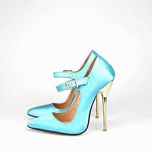 Negra Cara Tacón Puntiagudos Zapatos Yukun Blue Sky La Puntiaguda Tela Alto De Mujer Seda Con BHxw8U