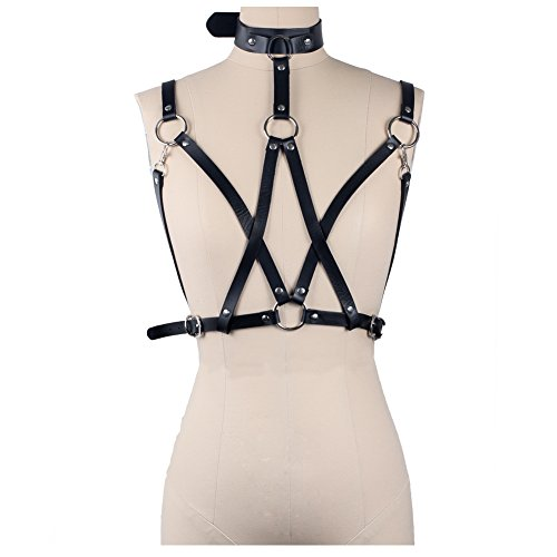 Wyenliz Women's Bra -Punk Belt Body Chain Sexy Harness Straps Suspenders Adjustable (Leather Chain Bra)