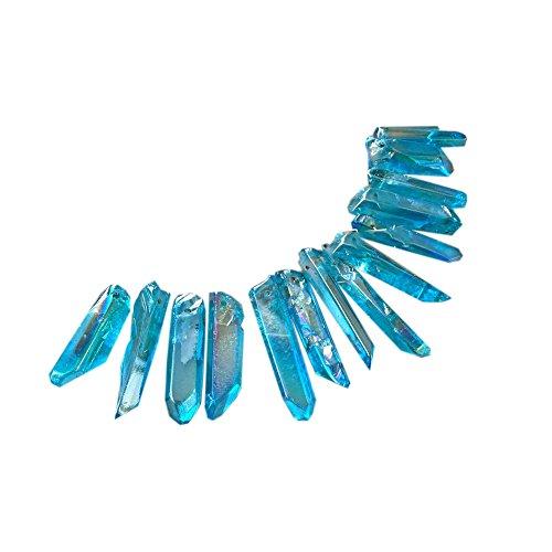 lgw crystal 50g Natural Aura Quartz Crystal Wand Point Pendant Gemstone Healing Titanium Tibetan Energy obelisk Necklace about;10-13pcs (sky blue)
