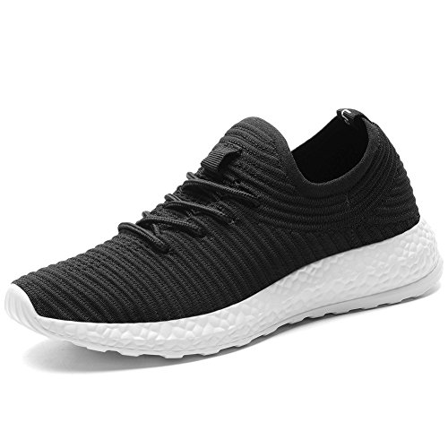 KONHILL Women's Breathable Sneakers Casual Knit Tennis Athletic Walking Running Shoes, Black, 38