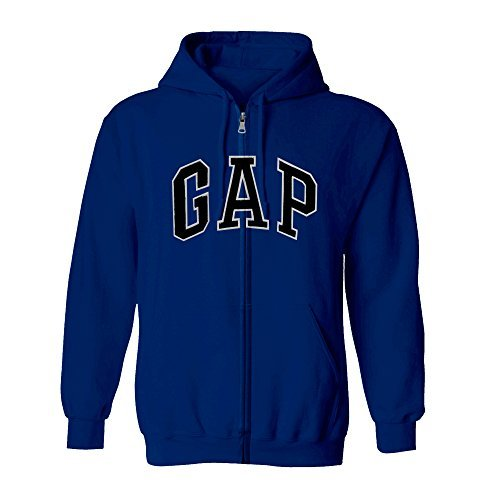 (GAP Men's Full Zip Fleece Logo Hoodie (X-Large, Dark Blue))