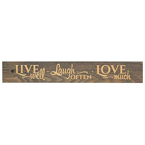 (Live Well Laugh Often Love Much 36 x 6 Wood Plank Style Wall Sign)