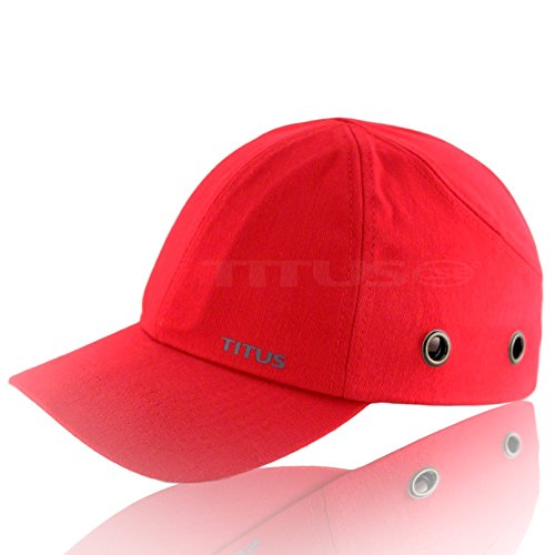 Topgard Protective Caps (Titus Lightweight Safety Bump Cap - Baseball Style Protective Hat (Red))