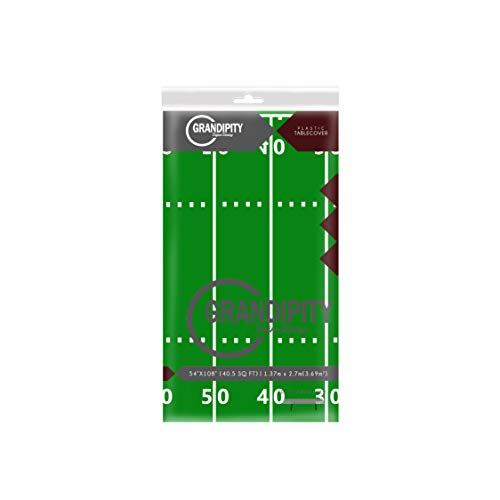 Football Field - Super Bowl 1 Pack Premium Disposable Plastic Tablecloth 54 Inch. x 108 Inch. Rectangle Table Cover By Grandipity