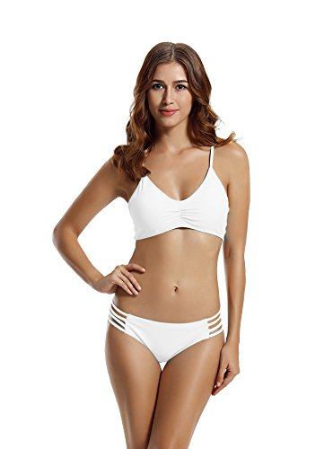 zeraca Women's Strap Side Bottom Halter Racerback Bikini Bathing Suits (S6, White) (Sexy Girls In Bikinis With Big Boobs)