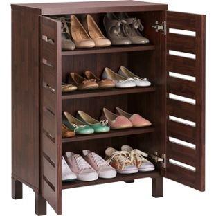 Mahogany Effect HOME Slatted 2 Door Shoe Storage Cabinet.: Amazon ...