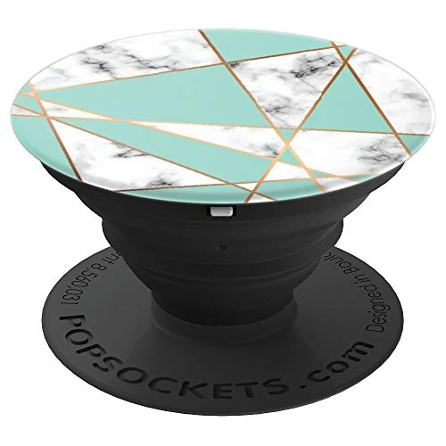 Sea Foam Green with Rose Gold Trim on Light Marble - PopSockets Grip and Stand for Phones and Tablets