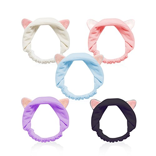 Cat Ears Headbands, Teenitor Elastic Women's Lovely Etti Hair Band, Wash Face Spa Headband-Washable Facial Band Makeup Wrap Headbands Christmas Gift Fits All Head Sizes, 5pcs -