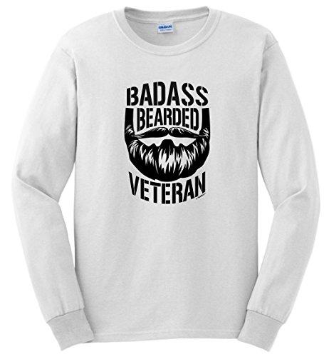 Veteran Appreciation Afghanistan Veteran Veteran Gifts Badass Bearded Veteran Long Sleeve T-Shirt 2XL White