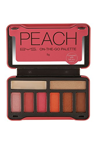 BYS On-The-Go Peach Eyeshadow Palette with Primer Highlighter and Mirror, 6 Eyeshadows, 1 Highlight, 1 Prime