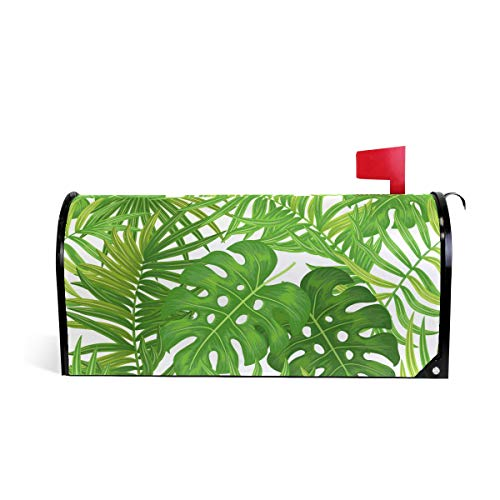 AUUXVA CUTEXL Magnetic Mailbox Covers Colorful Tropical Palm Leaves Pattern Mailbox Letter Post Box Cover Wrap Garden Yard Home Decor Standard Size 20.7