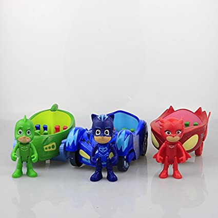 3pcs 3.5 doll with 6-7 inch car Characters Catboy Gekko Cloak Action Figure freddy