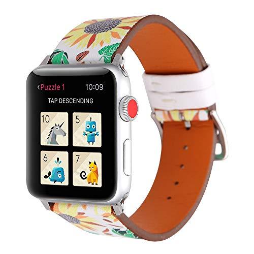 Sunbona for Apple Smart Watch 1/2 Bracelet Strap 42mm, Durable Leather Flower Pattern Replacement Bangle Wrist Band Men Women Jewelry Accessories (B) ()
