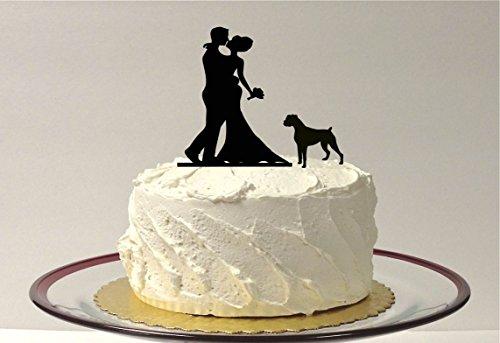 WITH PET DOG Rottweiler, Wedding Cake Topper, Silhouette Wedding Cake Topper, Bride + Groom + Dog Rottweiler, Bully Breed Dog, Pitbull, Pet Family of 3 Cake Topper