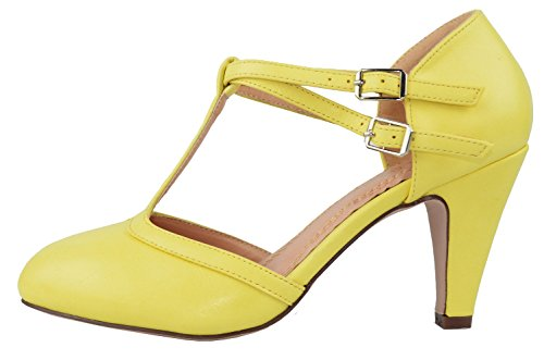 - Chase & Chloe Kimmy-51 Women's Mary Jane T-Strap Round Toe Pump (7.5 B(M) US, Yellow)