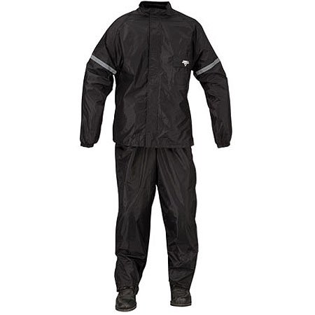 Nelson-Rigg WP-8000 Weatherpro Men's 2-Piece Sports Bike Motorcycle Rain Suits - Black/Black / Medium