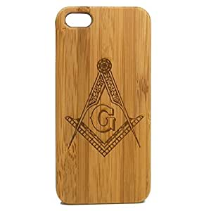 Freemasons iPhone 4 4S Case. Freemasonry Masonic Square & Compasses Symbol Bamboo Wood Cover. Customized Personalized Fraternal Fraternity