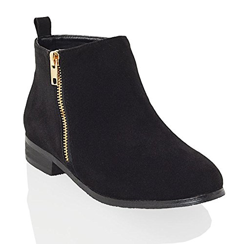 ESSEX GLAM Ladies Chelsea Block Heel Riding Biker Gold Zip Womens Flat Ankle Boots Size 3-8 Black Faux Suede OtsVn