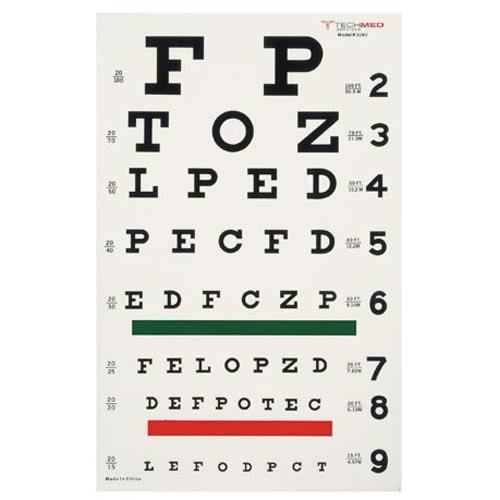 DUKAL 3061 Tech-Med Illuminated Eye Chart, Snellen, 20' Test Distance, 9