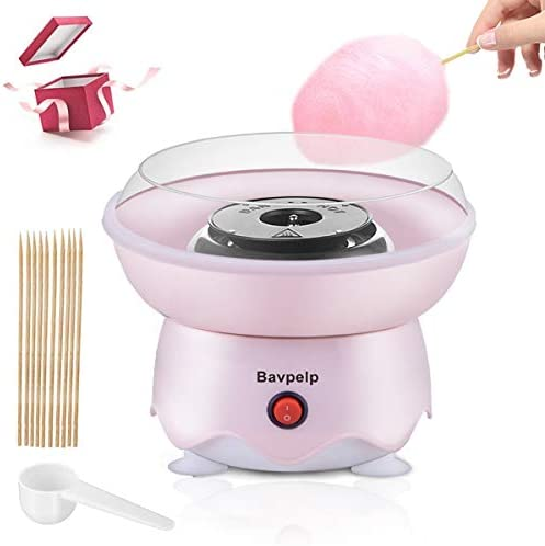 Cotton Candy Machine for Kids Bavpelp 400W Electric Cotton Candy Maker with 10 Candy Cones and 1 Reusable Sugar Scoop Countertop Candy Machine for Girls Boys Birthday Party & Christmas Gifts (Pink)
