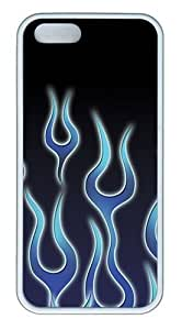 iPhone 5S Case, iPhone 5S Cases -Blue Flame TPU Rubber Soft Case Back Cover for iPhone 5/5S ?¡ìC White
