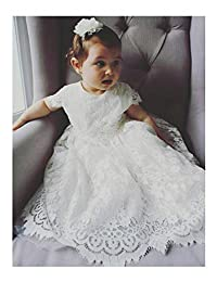 Aorme White/Ivory Long Lace Christening Gowns Girls Baptism Trim Edge
