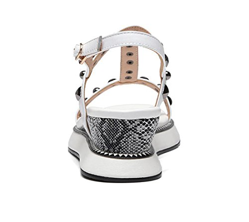 Sandali Rivet Bianca all'aperto Wedge ZXMXY Summer Shoes sandali Moda all'aperto Sandals Casual Womens Shoes Buckles Heel BZqxO0T