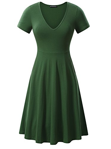 FENSACE Women's v-Neck Solid Short-Sleeve Knee Fit-and-Flare Dress, Green, Medium