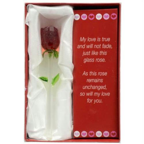 "Forever Glass Rose with Poem ~ Valentines Day or Special Occasion ~ Say I Love You with this Handmade Glass Roses with Love Poems 5"" Boxed by Greenbrier"