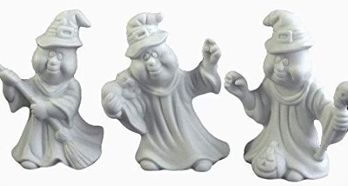 Halloween Pottery To Paint (Ghosts with Broom, Skull, Black Cat and Pumpkin - (Set of 3) Halloween Ready to Paint Ceramic Bisque - Handcrafted in)