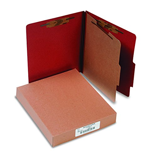 ACCO Classification Folders with Fasteners, Pressboard, 4-Part, Letter Size, Red, 10 per Box (15034)