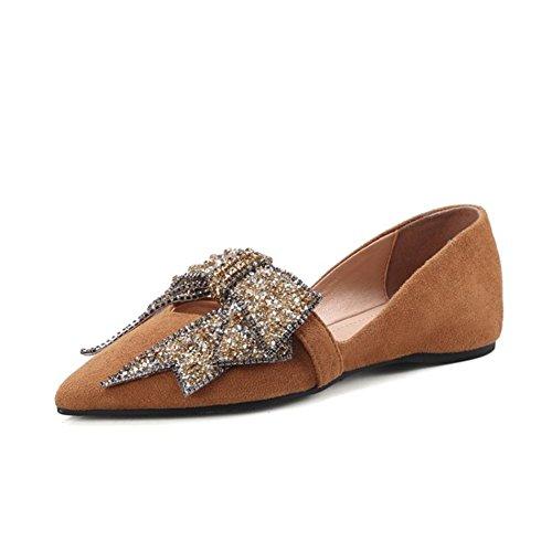 Dedo pie de Casual Diamante Mujer Corbata Plano 3 Ante Imitación UK Ponerse BROWN Comodidad para Soltero Mocasín Zapatos Moño Zapatillas NVXIE de Caminar del EUR36UK354 Puntiagudo 35 EUR fwXq6t7t