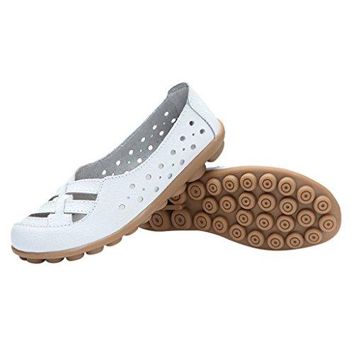 Optimal Kvinners Skinn Flat Loafer Sko Hvit