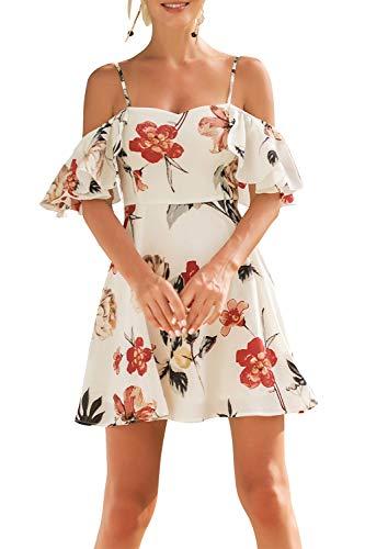 Yacun Women Summer Off Shoulder Dress Floral Strap Beach Mini Dresses White M (Yacun Women Dress)
