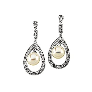 Image result for 14K WHITE GOLD 1/4 CT. DIAMOND AND FRESH WATER CULTURED PEARL DROP EARRINGS