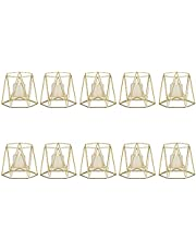 Metal Hexagon Shaped Geometric Design Tea Light Votive Candle Holders, Iron Hollow Tealight Candle Holders for Vintage Wedding Home Decoration, Gold