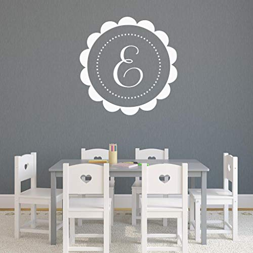 BYRON HOYLE Personalized Wall Decal, Initial Scalloped Frame, Polka Dot Border, Girls Nursery Bedroom Dorm Room Teen Girl - Card Frame Scalloped Place