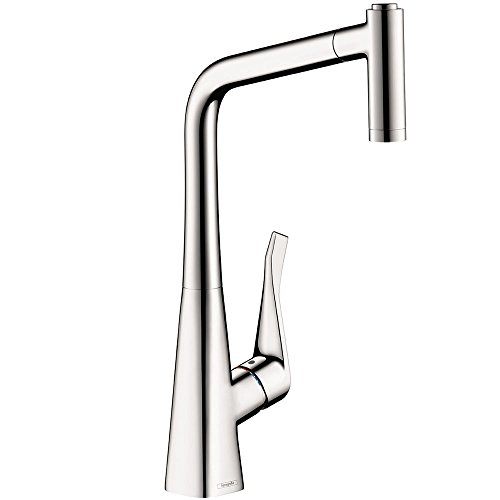 hansgrohe Metris Easy Install 1-Handle 17-inch Tall Kitchen Faucet with Pull Down Sprayer Magnetic Docking Spray Head in Chrome, 14820001